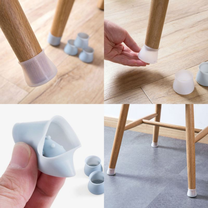 4 Pcs/Lot Table Chair Leg Mat Silicone Table Chair Leg Caps Non-slip Foot Protection Wood Floor Protectors Bottom Cover Pads
