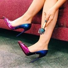 цены Purple Blue Gradient Color High Heels Shoes Patent Leather Rivets Stiletto Heel Pumps Shoes Women Pointed Toe 12cm Spikes Pumps
