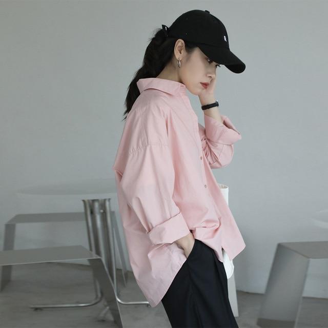 2021 Spring Summer Women Blouse Korean Long Sleeve Womens Tops Blouses  Solid Loose Women Shirts Blusas Roupa Feminina Tops 4
