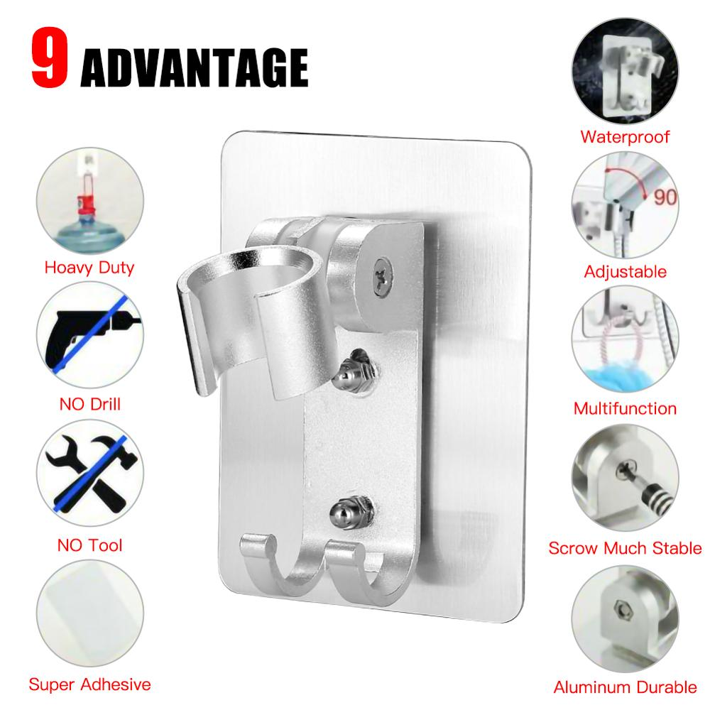 Punch-Free Aluminum Bathroom Shower Head Holder Stand Bracket Wall Mount Hook Adjustable 90 Degrees Replace Bathroom Accessories