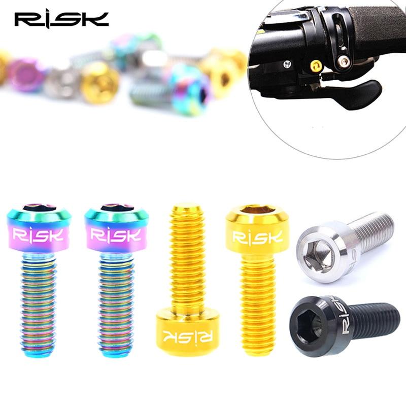 RISK 1pair MTB Bike Brake Lever Bolt Titanium M5x25mm Bicycle Handle Screws Bolt