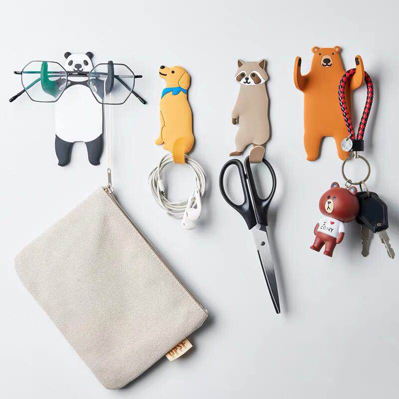Lovely Animal Multi-Purpose Hooks Fridge Kitchen Hook home decoration accessories key holder wall can Washed holder wall hook