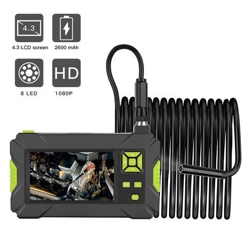endoscopio industrial 1080 p hd borescope 8mm inspecao cobra camera com tela de exibicao de