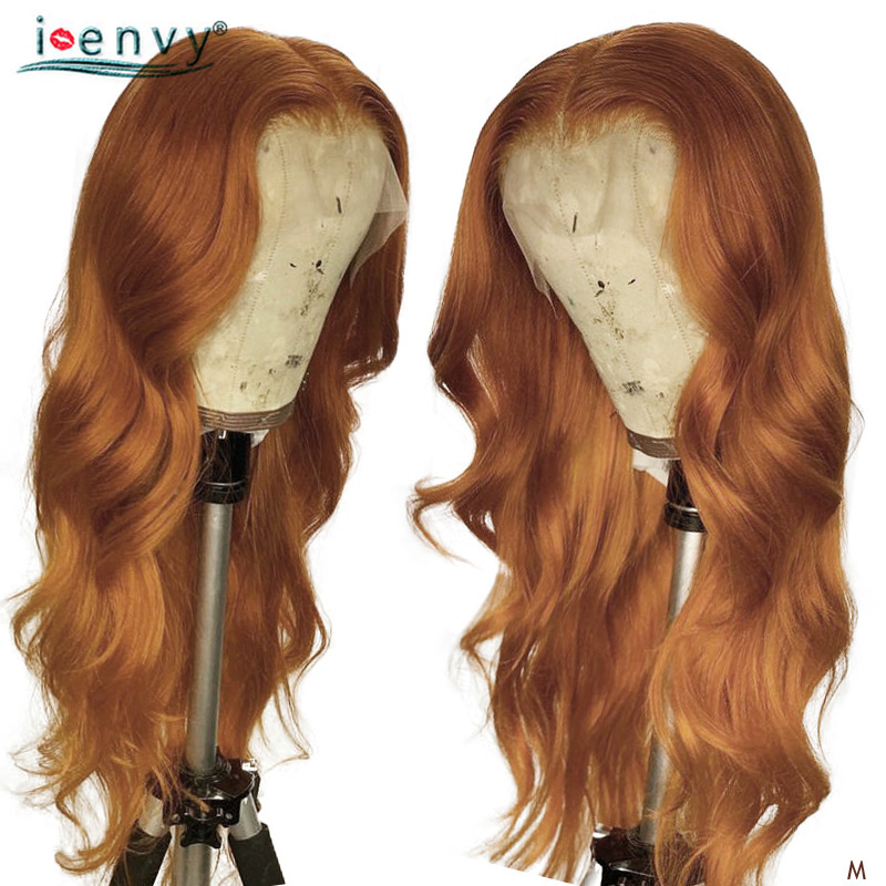 Gold Blonde Body Wave Lace Front Human Hair Wigs Preplucked 180% 13*4 Brazilian Ginger Human Hair Blonde Highlight Wigs Non-Remy