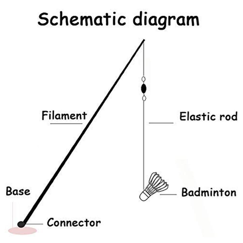 Badminton Trainer Potable Telescopic Elastic Rod Self-study Rebound Power Base Practicing Set For Badminton Learners