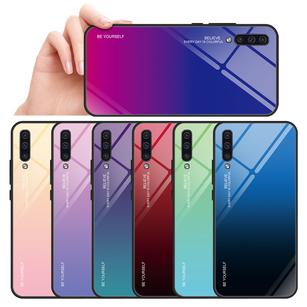 Gradient Phone <font><b>Case</b></font> For Samaung Galaxy A30 <font><b>A50</b></font> A10 A20 S A40 A60 A70 A80 A90 M10 M20 M30 M40 M30S Hard Tempered <font><b>Glass</b></font> Cover image