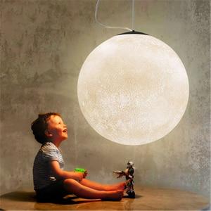 Image 4 - Modern 3D baskı ay lambası kolye ışıkları PLA çocuk odası asılı lamba de yatak odası aydınlatması oturma odası kolye lamba armatür