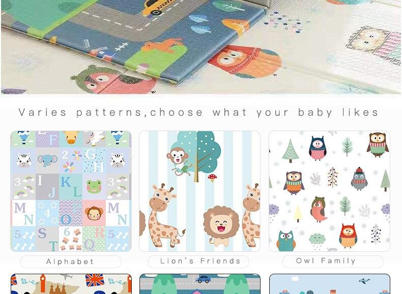 H6e30e806127945309a77c0ec8e1b10485 Miamumi Portable Baby Play Mat XPE Foam Double Sided Playmat Home Game Puzzle Blanket Folding Mat for Infants Kids' Carpet Rug