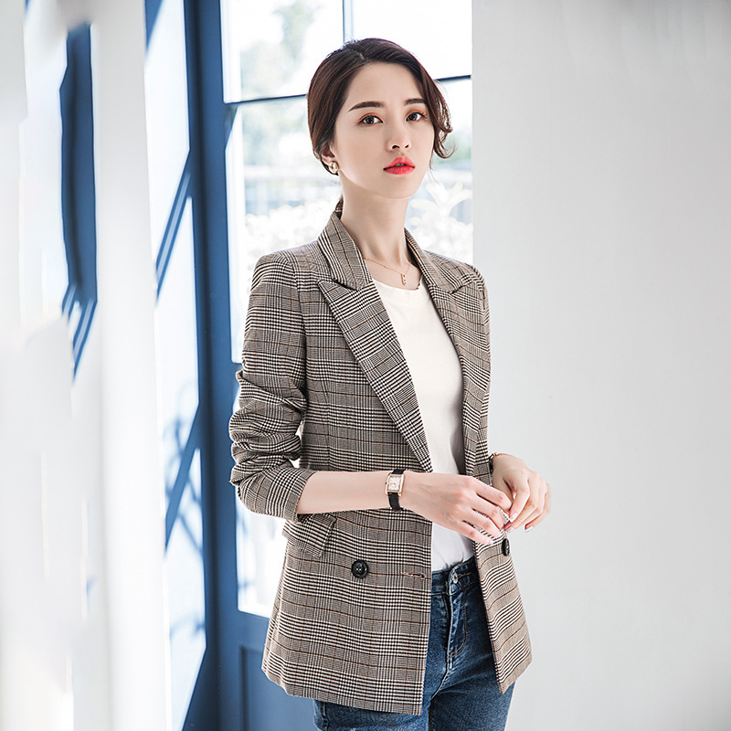 Women's Blazer High Quality Ladies Jacket Autumn Long Sleeve Check Suit Female Office Blazer Large Size 2019 Women's Clothing