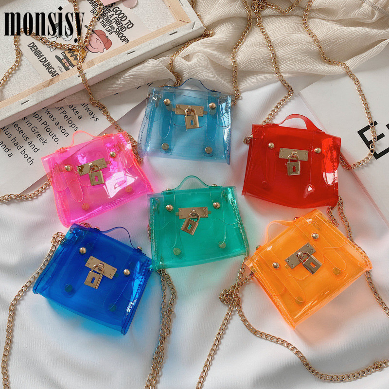 Monsisy Jelly PVC Transparent Bag For Girl Purse And Handbag Tote Children Wallet Kid Coin Pouch Bag Fashion Baby Mini Beach Bag