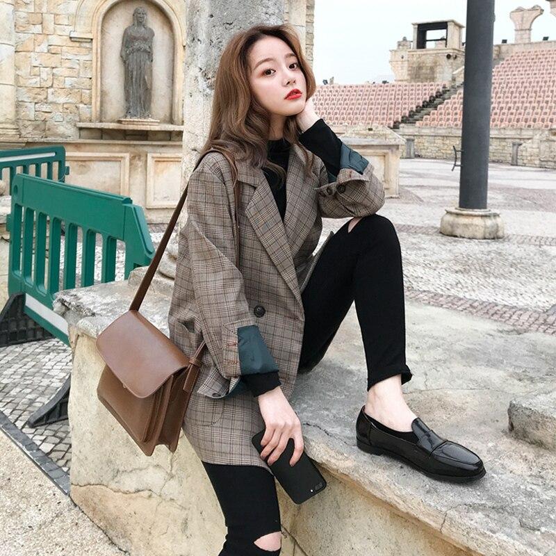 2019 populaire coupe-vent femme Ins automne vêtements treillis Hong Kong saveur petit Chap conception sentir la foule costume lâche manteau