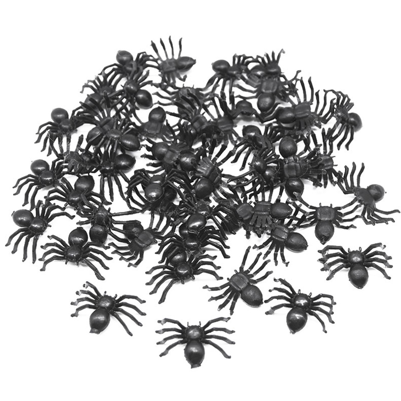 50pcs Horror Black Spider Haunted House Spider Web Bar Party Decoration Supplies Simulation Tricky Toy Kids Halloween Decoration