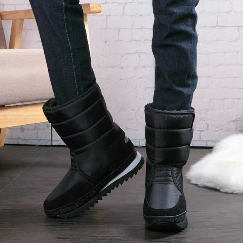 2019 Men Winter Boots Men Snow Boots Waterproof Non-slip Thicken Fur Men Winter Shoes Big Size 36-47 For -40 Degrees