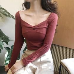 Camiseta de cuello cuadrado Sexy de la ropa interior de las mujeres de la Base del ajuste Delgado ropa de otoño 2019 nuevo estilo Retro estilo coreano que adelgaza largo