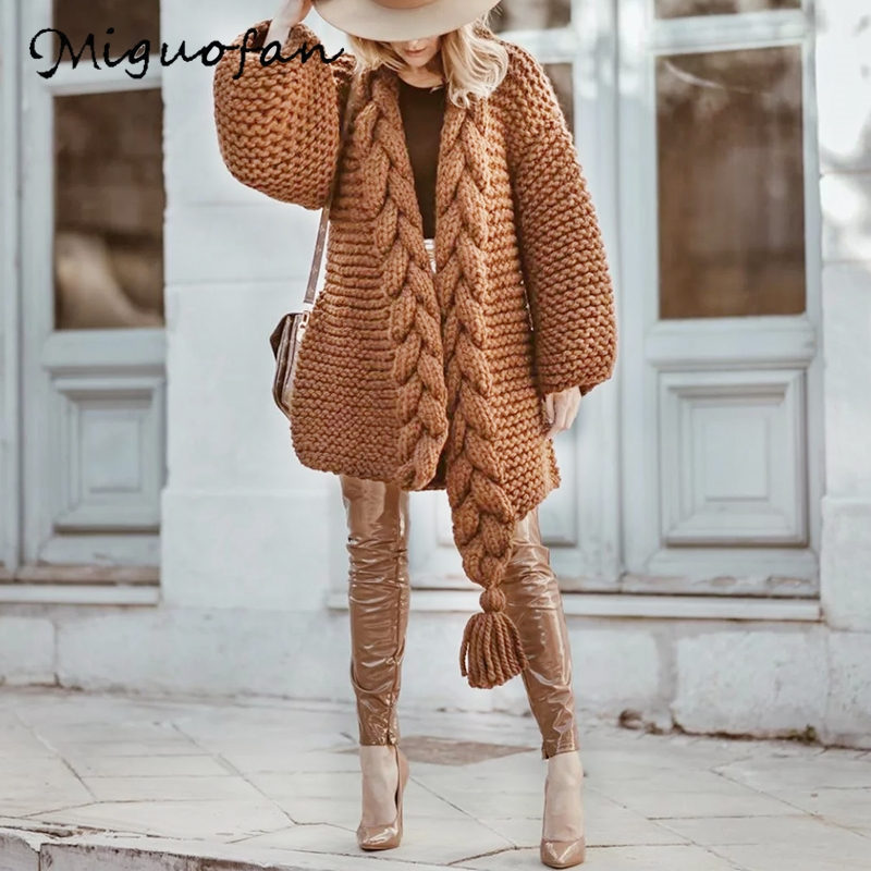 Women Sweaters Braid Wrap Poncho Ropa Sweaters Thick Long Cardigans Winter Warm Coat  Female Jumpers Coats Long Jackets Sweaters