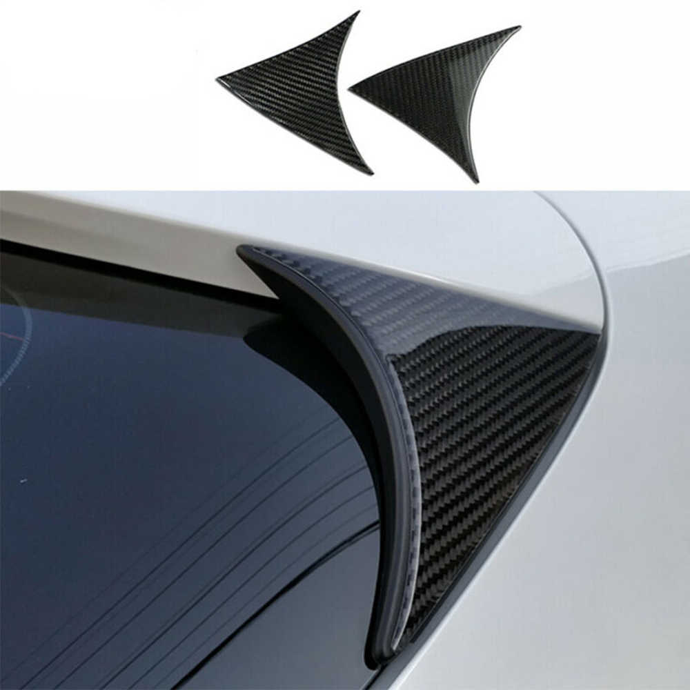 2Pcs רכב אחורי חלון ספוילר לקצץ סיבי פחמן עבור מאזדה 3 Axela 2014-2018 Hatchback רכב סטיילינג אביזרי רכב מדבקות
