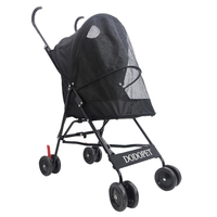 Foldable Pet Stroller Portable Dog Cat Trolley with Large Mesh Window Breathable Pet Carrier Aluminum Frame 10kg Bearing
