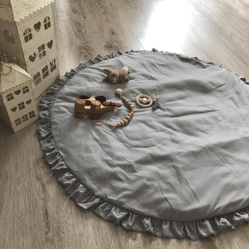 H6e3160945f764d1ea052bf9f23a70108N Nordic Newborn Baby Padded Play Mats Soft Cotton Crawling Mat Girls Game Rugs Round Floor Carpet For Kids Interior Room Decor