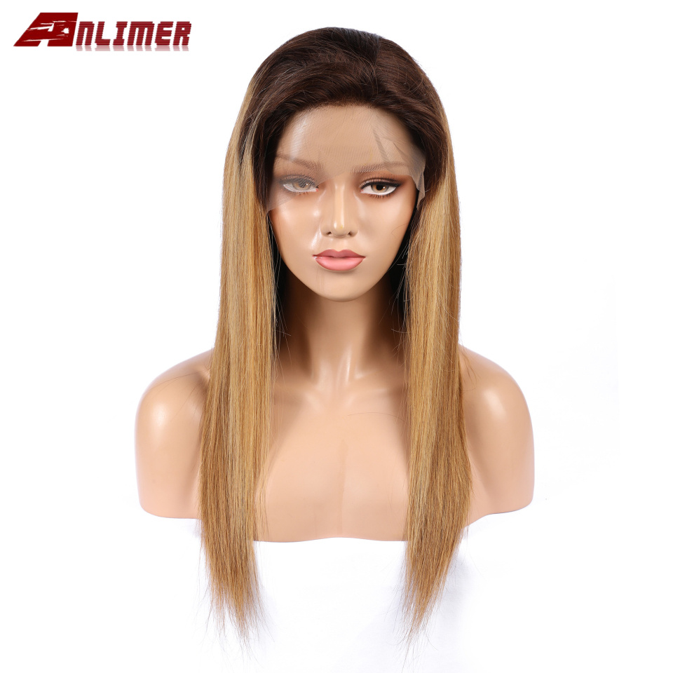 Anlimer Brazilian Remy Human Hair Wigs #1bt/27 Lace Front Human Hair Wigs With Baby Hair For Women