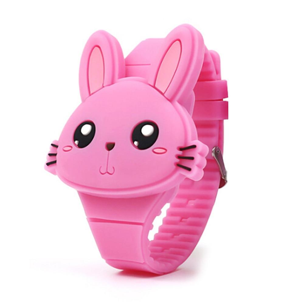 children's Watches LED cartoon cute rabbit toy kid watch Silicone Wrist Watches flip bracelet watch for girl hour relogio