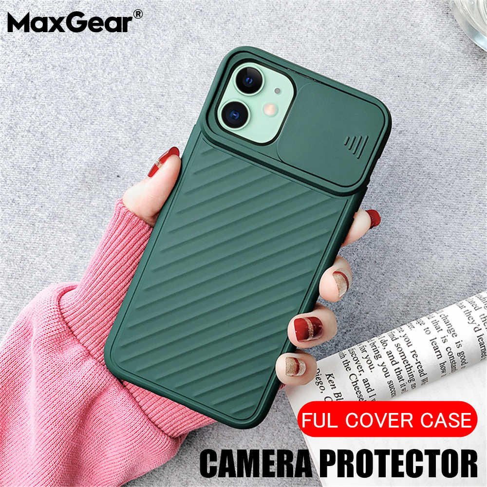 Shockproof Push Camera Protector Phone Case For iPhone 11 Pro Max Xs Max XR X 6 6S 8 7 Plus 7P Soft TPU Silicone Lens Back Cover