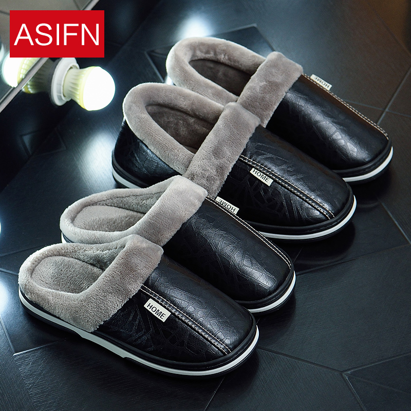 ASIFN Big Size Men Winter Slippers With Fur Women PU Leather Waterproof Warm Home Slipper Male Indoor Cotton Flip Flops Shoes
