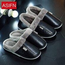 ASIFN Big Size Men Winter Slippers with Fur Women PU Leather Waterproof Warm Home Slipper Male Indoor Cotton Flip flops Shoes