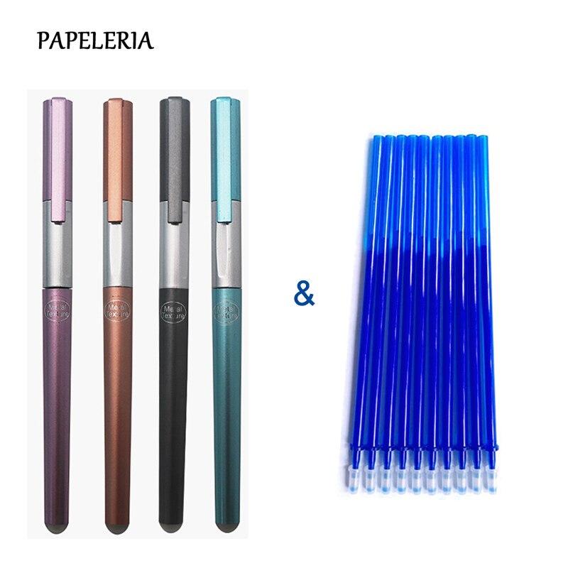 14Pcs/Set Luxury Style Erasable Pen Handle 0.38mm Blue/Black Ink Refill Gel Pen Rod For School Office Supplies Tool Stationery