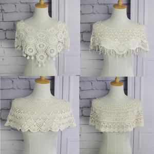 Lace-Fabric Vest Decorative Hand-Crochet Finished-Product Fake-Collar Shoulder Cotton
