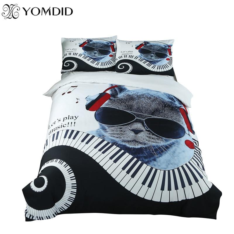 3Pcs Cartoon Bedding Set Home Decor Music Cat Pattern Duvet Cover With Pillowcases Bedding Set Children's Bedroom Decorations|Bedding Sets| |  - title=