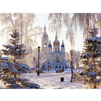 5D Diamond Embroidery Landscape Painting Rhinestone Picture Mosaic Sale Full Set Church Winter Home Decor