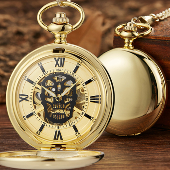 Skull Hollow Mechanical Pocket Watch Steampunk Pendent Chain Gold Skeleton Hand-winding Fob Watch Men Women Xmas Halloween Gifts golden black sliver antique hollow automatic mechanical pocket watch fob chain hand winding full steel sculpture for men wome