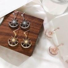 S925 Серебряные корейские Кристальные серьги с солнечными лунами