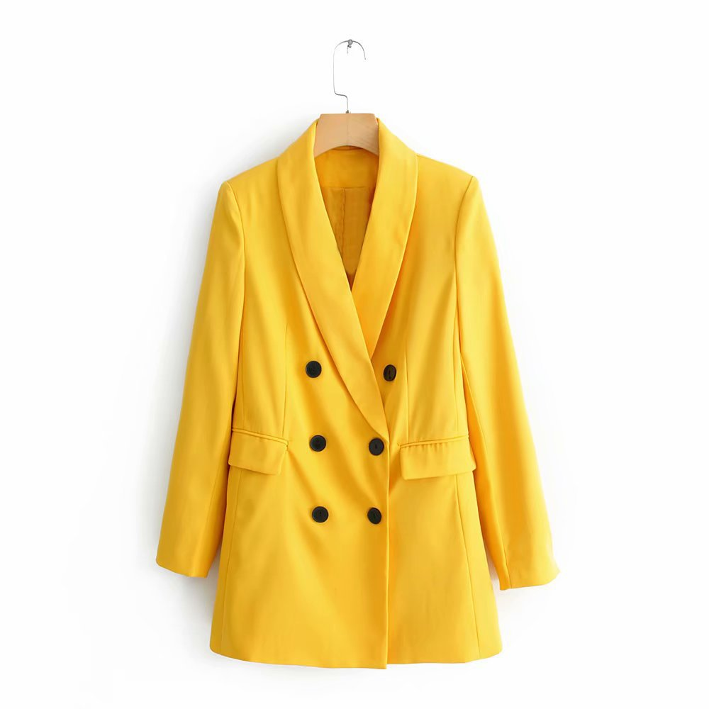 Nice Women Chic Yellow Blazer Pockets Double Breasted Long Sleeve Office Wear Coat Solid Female Casual Outerwear Tops