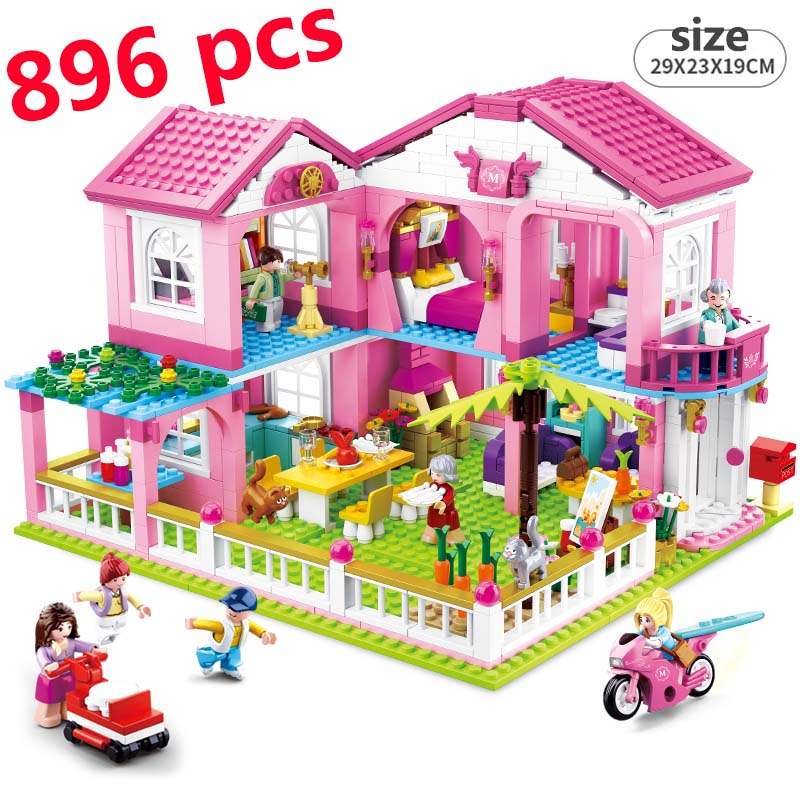 City House Building Blocks Compatible Lepining Castle Educational Toy For Children Duplo Friends For Girls DIY Figures Bricks