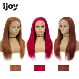 Image 1 - 4X13 dantel ön İnsan saç peruk renkli düz peruk kahverengi bordo brezilyalı saç kadınlar için peruk ön koparıp peruk olmayan remy IJOY