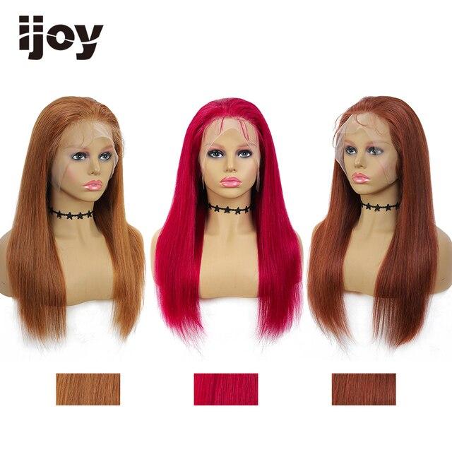 4X13 dantel ön İnsan saç peruk renkli düz peruk kahverengi bordo brezilyalı saç kadınlar için peruk ön koparıp peruk olmayan remy IJOY