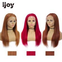 Pelucas de cabello humano con encaje frontal 4X13, peluca recta de color marrón Borgoña, peluca de cabello brasileño para mujer, peluca prearrancada, IJOY no Remy