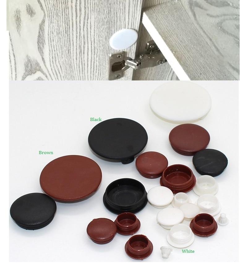 50Pcs/Lot Plastic Hole Plug Cover Cap Furniture Cabinet Cupboard Closet Hinge Hole Panel Repairing White Brown Black
