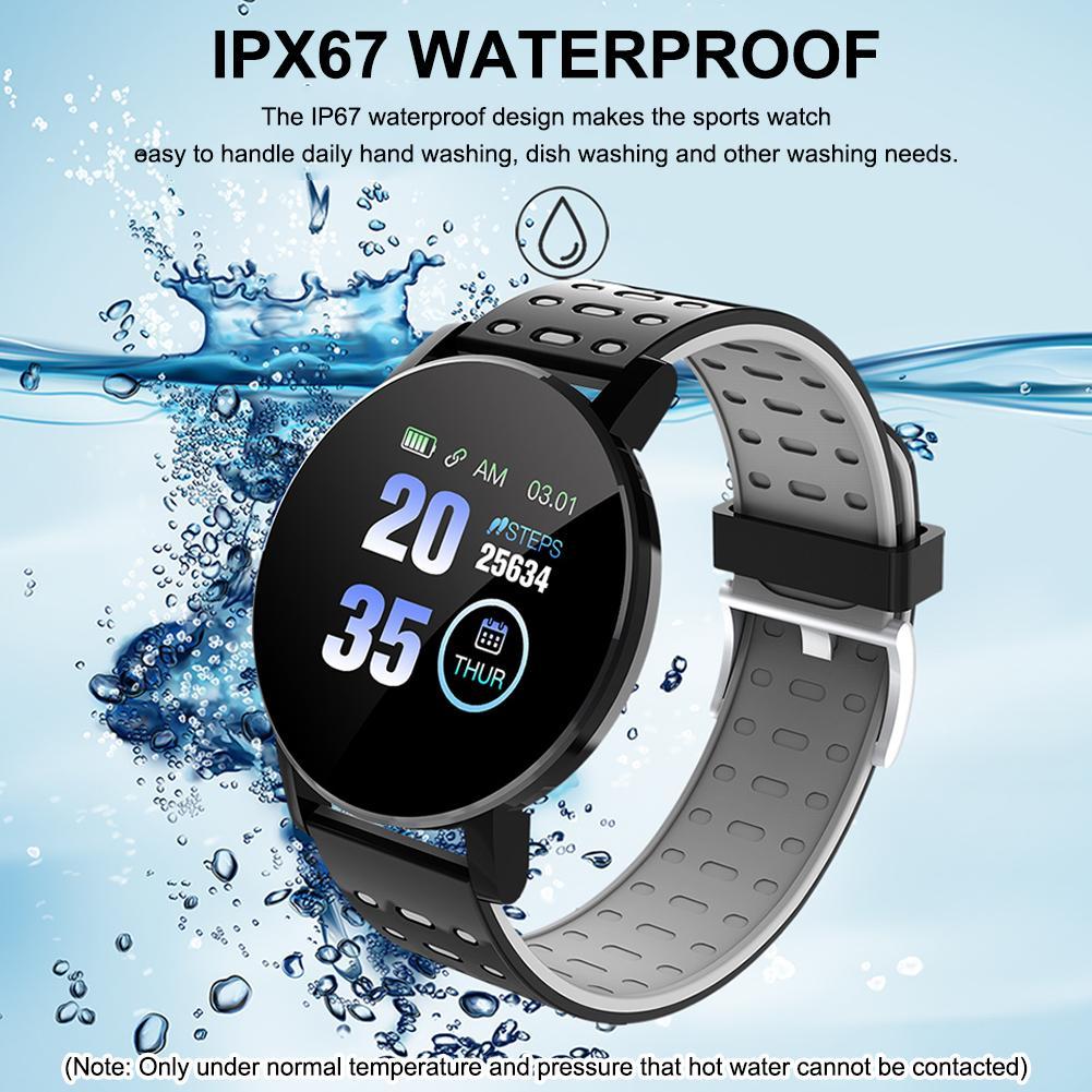 """Smart Watch Men 119 Plus Sports Heart Rate Smart Bracelet Round 1.3"""" IPS Touch IP67 Waterproof Fitness Smartwatch Women 119plus"""