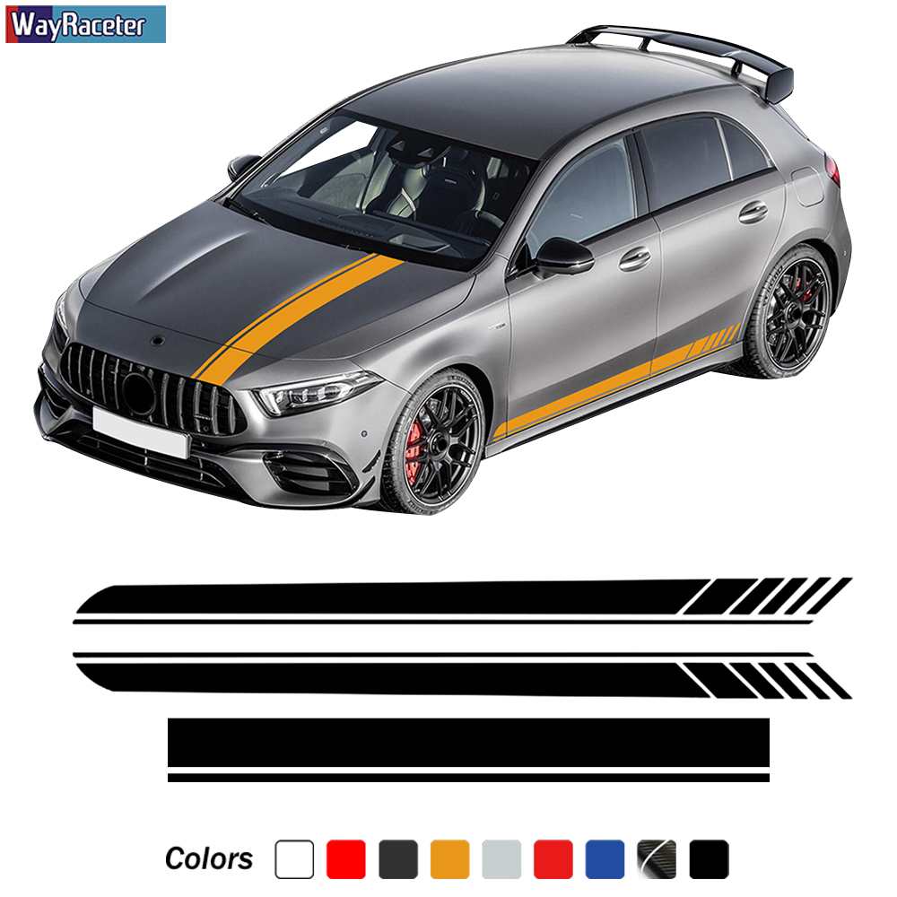 Edition 1 AMG Car Hood Decal Side Stripes Skirt Sticker For Mercedes Benz A Class W177 V177 A35 A45 A45S W176 AMG Accessories