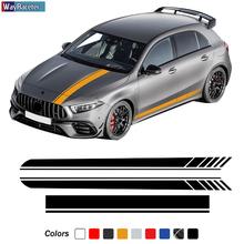 Edycja 1 AMG maska samochodu naklejka boczne paski spódnica naklejka dla Mercedes Benz klasa W177 V177 A35 A45 A45S W176 AMG akcesoria tanie tanio Wayraceter Całego ciała Inne naklejki 3d Karoserii Jest dostarczana