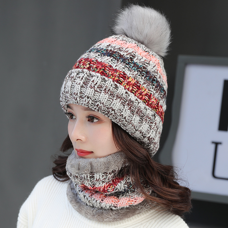 New Women Warm Winter Hat Add Fur Lined Soft Beanie Neck Warmer Scarf Thick Striped Color Knitted Hat Fashion Girls Pompoms Hat