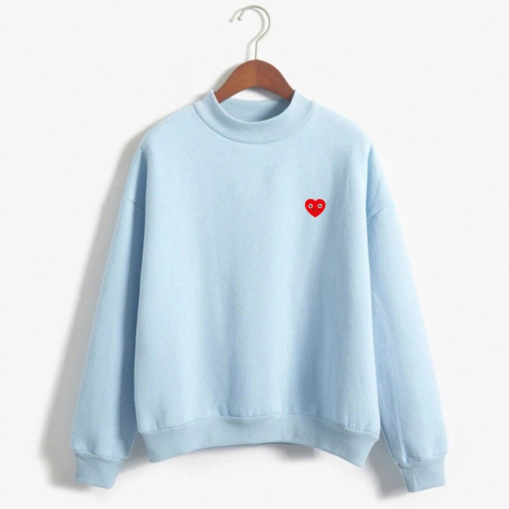 Women O-Neck Smiley Love Pattern Long Sleeve Velvet Sweatshirt Ladies Casual Solid Color Turtleneck hoodies tops sudadera mujer