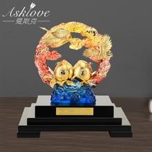 Asklove Gold Crane Peach Lucky Figurines Auspicious Desktop Ornament Statue Gifts to elders 24K Gold Foil Crafts Home Decor gift