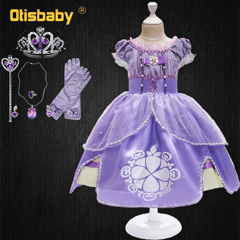 Crianças princesa sofia vestido para a menina cosplay traje puff manga layerd vestidos festa de aniversário da criança sophia plissado fantasia trajes