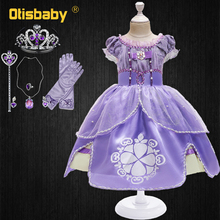 Kids Princess Sofia Dress for Girl Cosplay Costume Puff Sleeve Layerd Dresses Child Party Birthday Sophia Ruffle Fancy Costumes