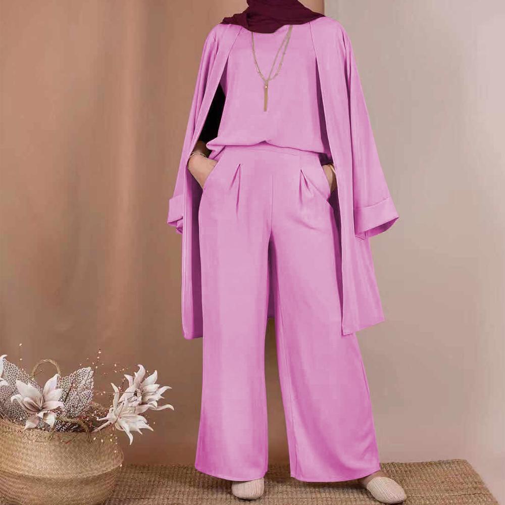 Women 3 Piece Cardigan Outfit Matching Set Full Sleeve Long Kimono Abaya Duster Long Wide Leg Pants Muslim Modesty Solid Color