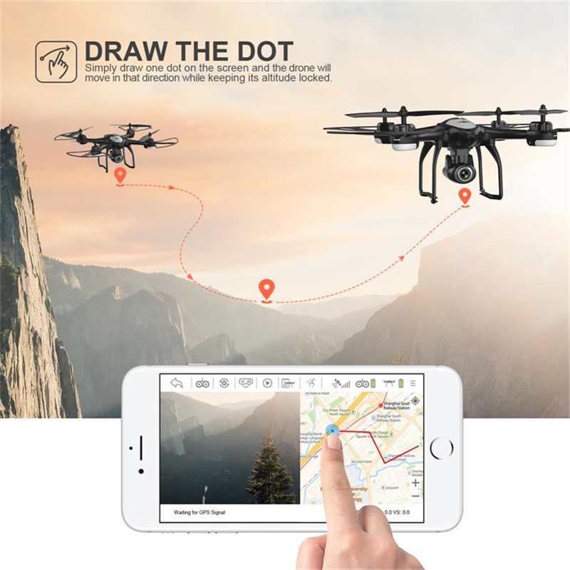 Potensic T18 RC Drone with Camera HD 1080P FPV WIFI Altitude Hold Function Selife Drone Folding Quadcopter (Black)