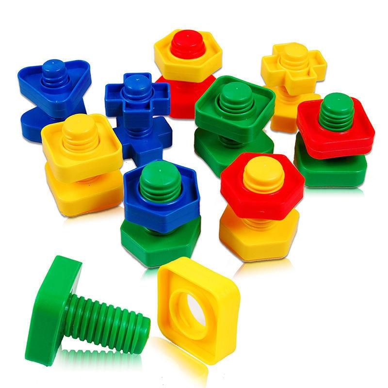 4 Sets Screw Building Blocks Nut Plastic DIY Disassembly Insert Model Toy Shape Color Recognize Educational Toys for Children